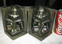 Antique Art Nouveau Girl Child Toy Book Art Statue Sculpture Metal Nude Bookends