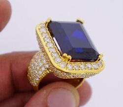 20 Carats Blue Stone And 8 Carat Diamonds Mens Ring Celebrity Style 10k Gold Video