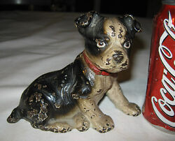 ANTIQUE HUBLEY 5 LB BOSTON TERRIER DOG CAST IRON DOORSTOP GARDEN PATIO DOOR ART