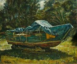 Original 1983 Oil On Canvas Of An Old Dry Docked Wooden Boat Illegibly Signed
