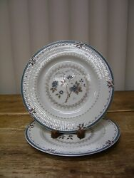 2 Royal Doulton Old Colony Salad Plate Tc1005 England Blue Flowers Brown Leaves