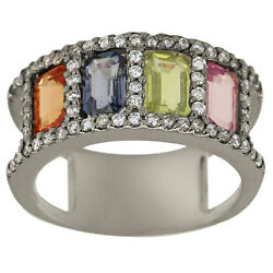 Multi Color Sapphire And Diamond 14k Gold Wedding Ring Size 6.25