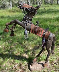 Rare Antique Yoruba Rearing Wooden Leather Horse W Saddle African Statue Africa