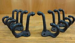 8 BROWN ANTIQUE STYLE DOUBLE SCHOOL COAT HOOKS RUSTIC CAST IRON 3quot; wall hardware
