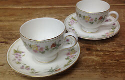 Mirabelle Wedgwood 2 Footed Cup Saucer Sets Bone China Floral Rim R4537 White
