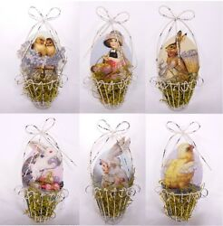 Vintage Style Wire Easter Basket Ornaments Set Of 6 Bunny Rabbit Chick Boy Girl