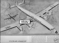 Air France 1958 Constellation Starliner 177,00 Mile Wingspan 2 Pg Route Map Ad