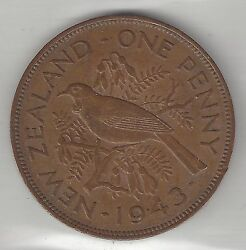 New Zealand, 1943, Penny, Bronze, Km13, Almost Uncirculated