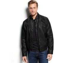 Kenneth Cole Men's Quilted-Bib Faux-Leather Moto Jacket  Sz.  M