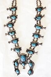 Vintage 1950and039s Native American Navajo Sterling Silver Squash Blossom Necklace