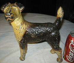 ANTIQUE HUBLEY USA CAST IRON FOX TERRIER ART STATUE SCULPTURE DOORSTOP PRIMITIVE