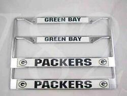 NLF Green Bay Packers Metal License Plate Frame PACKERS-METAL-LICENSE-PLATE-2PCS