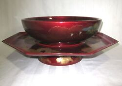 Japanese Laquered Wood 11 Bowl And Metal 16 Serving Tray On Round Pedestal