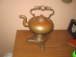 Antique Vintage Copper Tea Coffee Kettle Pot With Burner And Stand Arts And Crafts