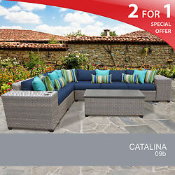 Catalina 9 Piece Outdoor Wicker Patio Furniture Set 09b 2 for 1