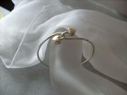 Vintage And Co. Double Heart 18k Yellow Gold And Sterling Silver Bracelet