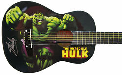 Stan Lee Signed Peavey Marvel Hulk 1/2 Size Acoustic Guitar And Certificate