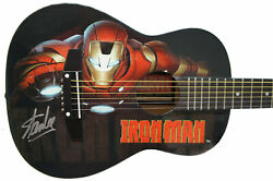 Stan Lee Signed Peavey Marvel Iron Man 1/2 Acoustic Guitar And Certificate