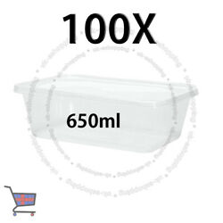 100 Square Food Containers Plastic Storage Boxes For Spices 650ml 178x125x48mm