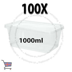 100 Square Food Containers Plastic Storage Boxes For Spices 1000ml 178x125x75mm