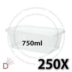 250 Square Food Containers Plastic Storage Boxes For Spices 750ml 178x125x54mm