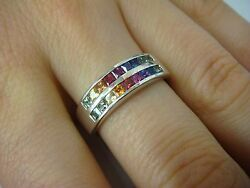 14K WHITE GOLD 2 ROW quot;CHAMELEONquot; RING WITH PRINCESS CUT MULTI GEMSTONES SIZE 7