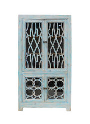 Oriental Shabby Chic Blue Glass China Bookcase Cabinet Cs1335