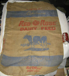 2 Antique Country Dairy Milk Cow Red Rose Feed Seed Burlap Sack Sign Art Bag Us