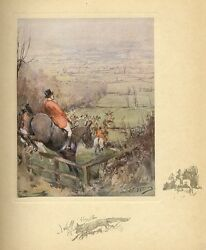 Fox Hunting The Vale Horses Jumping Fence Countryside View Color Fox Hunt Print