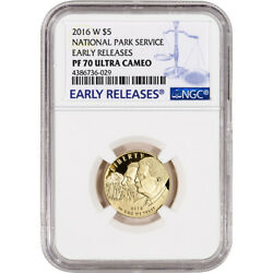 2016-w Us Gold 5 National Park Service Commem Proof - Ngc Pf70 Early Releases