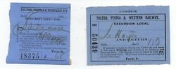 Two 1903 Railroad Tickets From The Toledo Peoria And Western Railway
