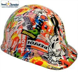 Sticker Bomb Hydro Dipped Cap Style Hard Hat With Ratchet Suspension