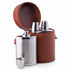 Bar Sets - 6 Piece Stainless Steel Bar Set In Brown Leather Case - Travel Bar