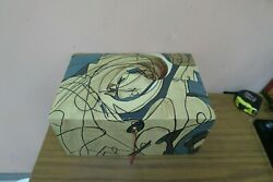 Vintage Mcm Wooden Hinged Art Deco Chest Box Cubism Painted Carved 8 X 12 X6