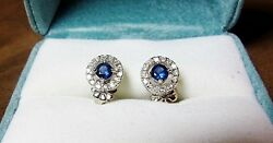 14k White Gold Sapphire And White Diamond Earrings Hallmarked Top Color Never Worn
