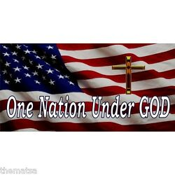 ONE NATION UNDER GOD SMALL CROSS AMERICA FLAG METAL LICENSE PLATE MADE IN USA