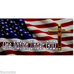 AMERICAN FLAG ONE NATION UNDER GOD LARGE CROSS METAL LICENSE PLATE MADE IN USA