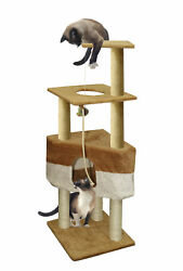 """50"""" Brown Tan Cat Tree Play House Tower House Post Condo Furniture Toy Mouse"""
