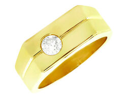 Natural 0.50ct Round Diamond Solitaire Mens Wedding Band Ring 14k Gold