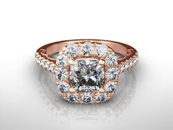 2.25 Ct Cushion Cut H/vs2 Diamond Solitaire Engagement Ring 18k Rose Gold