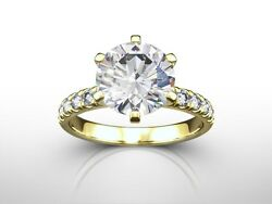 2.50 CT ROUND CUT HSI2 PAVE DIAMOND  SOLITAIRE ENGAGEMENT RING 14K YELLOW GOLD