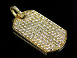 Menand039s Solid 14k Yellow Gold Military Dog Tag Vs2 Real Diamond Pendant 3.0ct 1.2