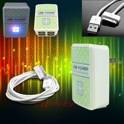 100 Lot 4 Usb Port Wall Adapter+6ft Cord Charger Sync White For Iphone Ipod Ipad