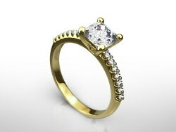 1.30 Ct Cushion Cut F/vs2 Diamond Solitaire Engagement Ring 14k Yellow Gold
