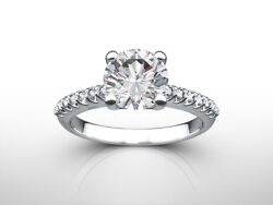 1.35 Ct Round Cut D/si2 Pave Diamond Solitaire Engagement Ring 18k White Gold