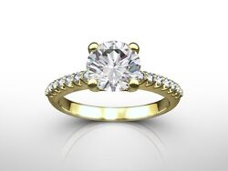 1.35 Ct Round Cut D/si2 Pave Diamond Solitaire Engagement Ring 18k Yellow Gold