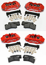 Wilwood Caliper,pad,and Bracket Kit,front And Rear,97-13 Corvette C-5,c-6,z06,red