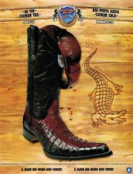 Wild West Menand039s 6x-toe Caiman Tail Cowboy Western Boots W/ Belt