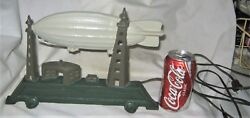 Antique Usa Graf Zeppelin Air Ship Lamp Doorstop Cast Iron Toy Hindenburg Statue