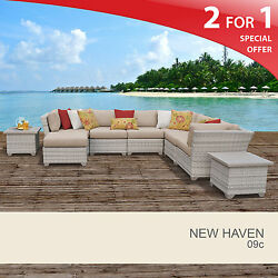 New Haven 9 Piece Outdoor Wicker Patio Furniture Set 09c 2 for 1